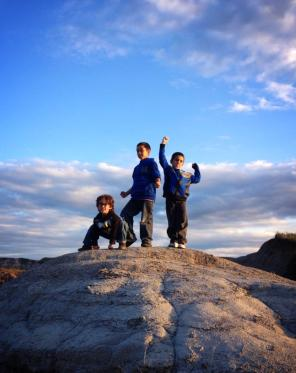 Superhero pose in the Alberta Badlands. Superheroes in the BADlands, get it? They were amused.